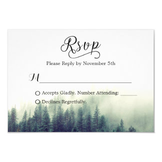 Seasonal Forest Pine Trees Elegant Wedding RSVP Card