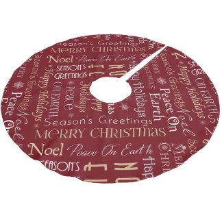 Seasonal Greetings (Burgundy) Brushed Polyester Tree Skirt