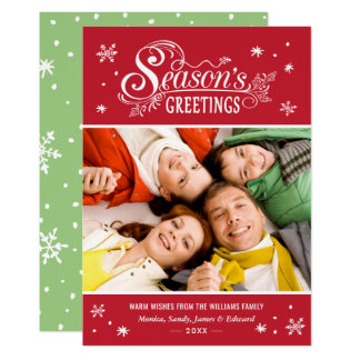 Seasonal Greetings Merry Christmas Holiday Photo Card