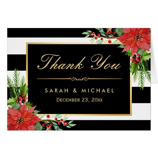 Seasonal Poinsettia Floral B&W Stripes Thank You Card