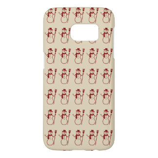Seasonal Rows of Cute Snowmen Vintage Samsung Galaxy S7 Case