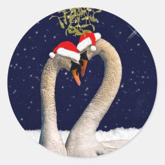 Seasonal Swans Christmas Sticker