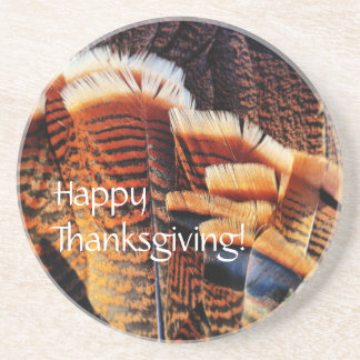 Seasonal Turkey Tail Feathers Happy Thanksgiving! Coaster
