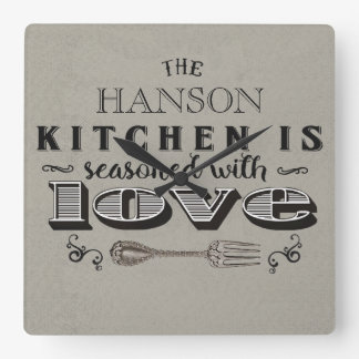 Seasoned with love custom kitchen design wallclock