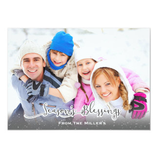 Season's Blessings Family Holiday Card Snowfall