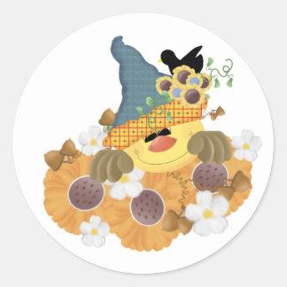 Seasons Change Scarecrow Round Sticker