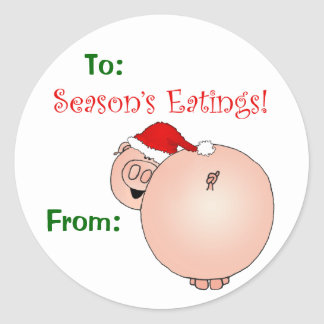 Season's Eatings Pig gift tag. Round Sticker