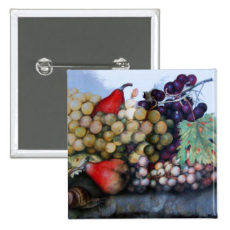 SEASON'S FRUITS 1 - GRAPES AND PEARS 2 INCH SQUARE BUTTON