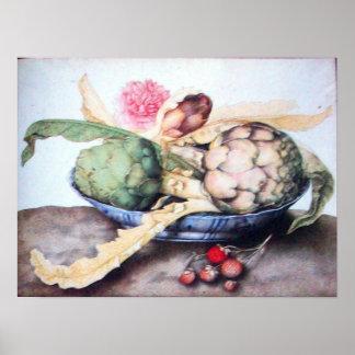 SEASON'S FRUITS 4- ARTICHOKES, ROSE & STRAWBERRIES POSTER