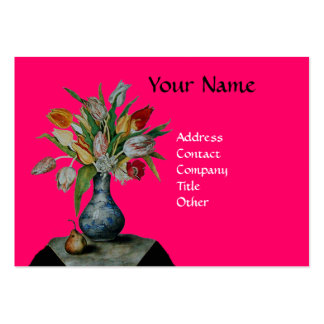 SEASON'S FRUITS COLORFUL TULIPS  MONOGRAM, Fuchsia Large Business Card