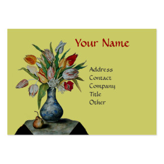 SEASON'S FRUITS - COLORFUL TULIPS  MONOGRAM LARGE BUSINESS CARD