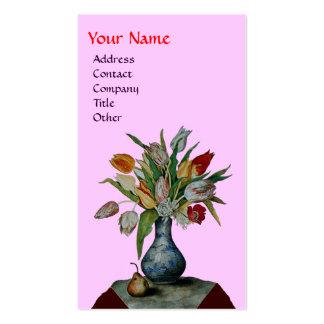 SEASON'S FRUITS - COLORFUL TULIPS  MONOGRAM, pink Business Card