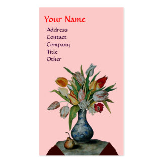 SEASON'S FRUITS - COLORFUL TULIPS  MONOGRAM, pink Business Card Templates