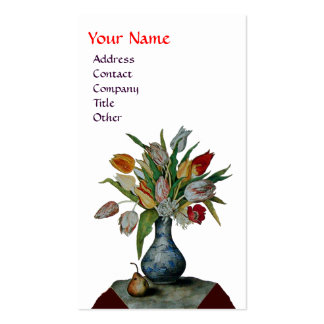 SEASON'S FRUITS - COLORFUL TULIPS  MONOGRAM white Business Card