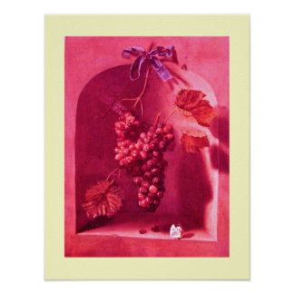 SEASON'S FRUITS -PROSPERITY pink antique red cream Poster