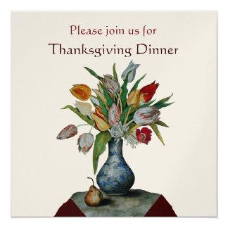 "SEASON'S FRUITS /TULIPS Thanksgiving Dinner Gold 5.25"" Square Invitation Card"