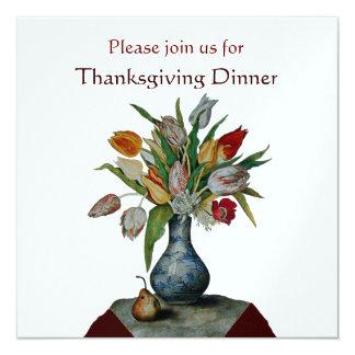 "SEASON'S FRUITS /TULIPS Thanksgiving Dinner ice 5.25"" Square Invitation Card"