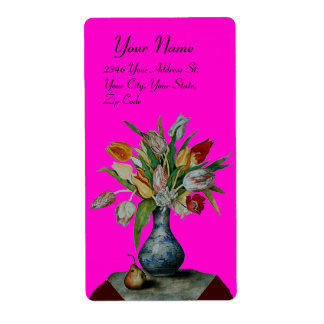 SEASON'S FRUITS -TULIPS violet Shipping Label