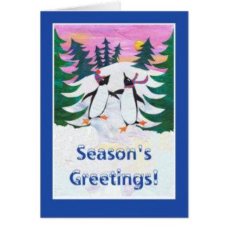 Season's GreetingChristmas Card, Skating Penguins Card