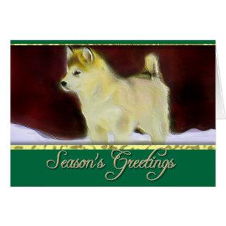 Season's greetings Alaskan Malamute card