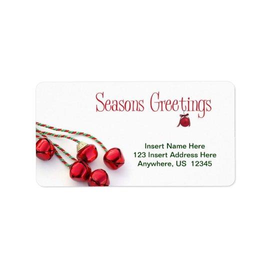 Seasons Greetings Bells Label
