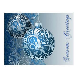 Seasons Greetings Blue Baubles Postcard