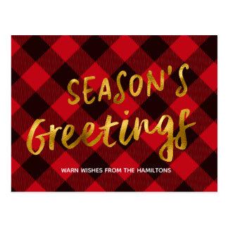 Season's Greetings Buffalo Red Foil Christmas Postcard
