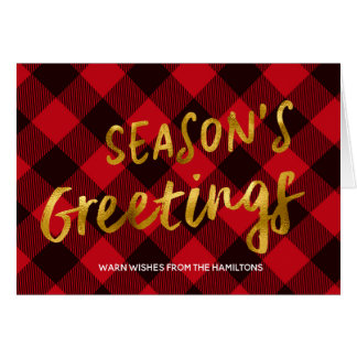 Season's Greetings Buffalo Red Plaid and Gold Foil Card