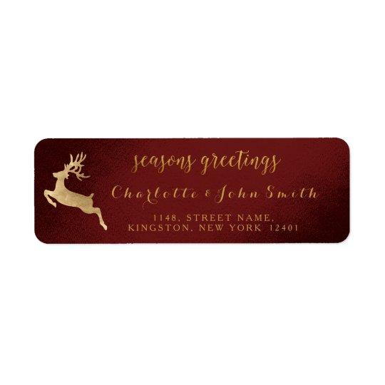 Seasons Greetings Burgundy Golden Reindeer