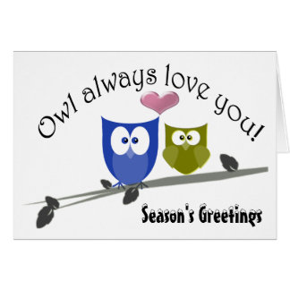 Season's Greetings Christmas Cute Owls Art Card