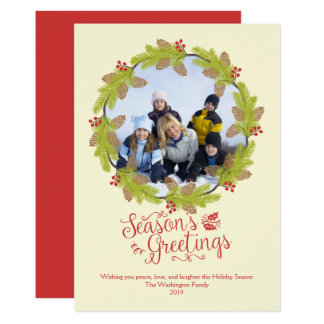 Season's Greetings Christmas photo holly wreath Card