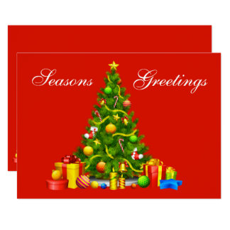 Seasons Greetings Christmas Tree & Gifts Holiday Card