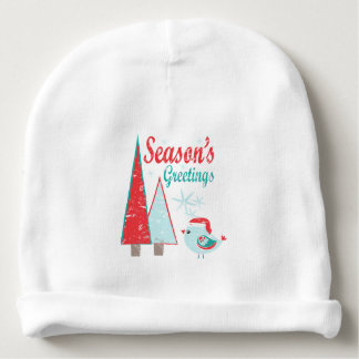Season's Greetings Christmas Trees & Bird Holiday Baby Beanie