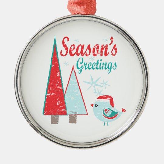 Season's Greetings Christmas Trees & Bird Holiday Metal Ornament