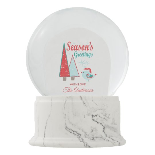 Season's Greetings Christmas Trees & Bird Holiday Snow Globe