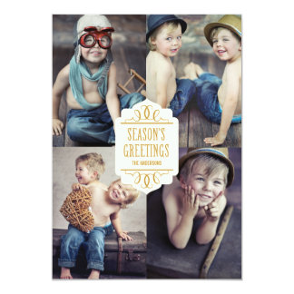 "SEASON'S GREETINGS COLLAGE | HOLIDAY PHOTO CARD 5"" X 7"" INVITATION CARD"