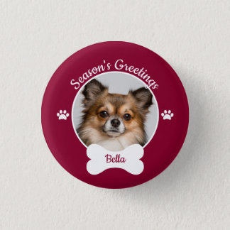 Season's Greetings Cute Dog Bone with Name Photo 1 Inch Round Button