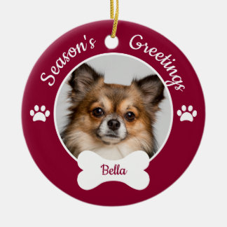 Season's Greetings Cute Dog Bone with Name Photo Ceramic Ornament