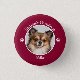 Season's Greetings Cute Dog Photo with Name Paws 1 Inch Round Button