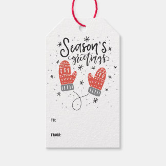 Season's Greetings Cute Red Mittens Gift Tags