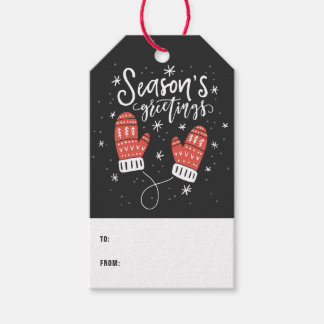 Season's Greetings Cute Red Mittens II Gift Tags