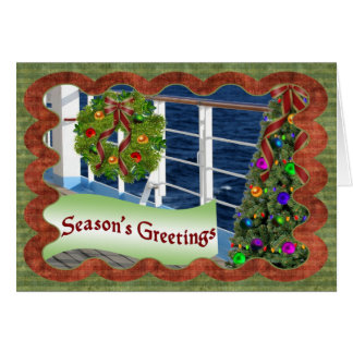 Season's Greetings, Decorated Cruise Ship Deck Greeting Card