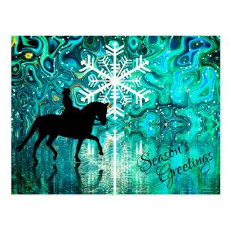 Season's Greetings Dressage Horse Winter Holiday Postcard