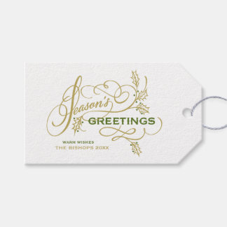 Season's Greetings Elegant Flourish Holiday Gift Tags