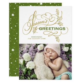 Season's Greetings Elegant Flourish Holiday Photo Card