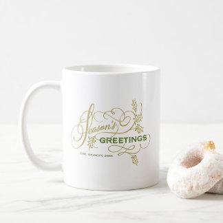 Season's Greetings Elegant Flourish Personalized Coffee Mug