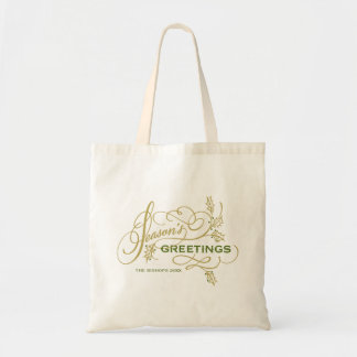 Season's Greetings Elegant Flourish Personalized Tote Bag
