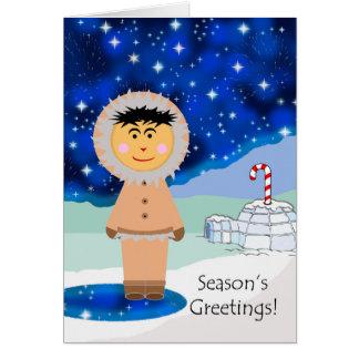 Season's Greetings, Eskimo in Winter Landscape Card