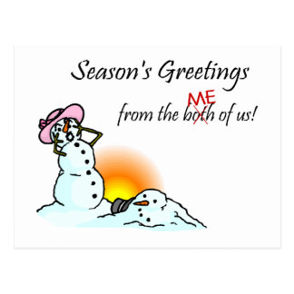 Seasons Greetings From The Both Of Us Me Postcard