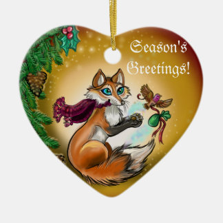 Season's Greetings Gifting Fox~ornament Ceramic Ornament
